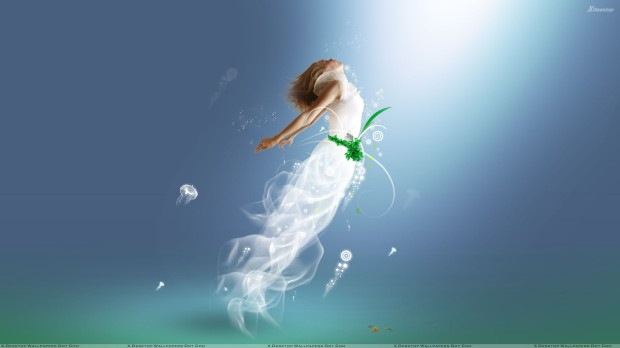 3d Girl In White Dress And Flying In Sky